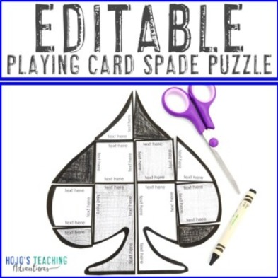 EDITABLE Playing Card Spade Puzzle