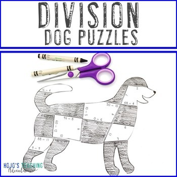 Division Dog Puzzles for 3rd, 4th, or 5th Grade