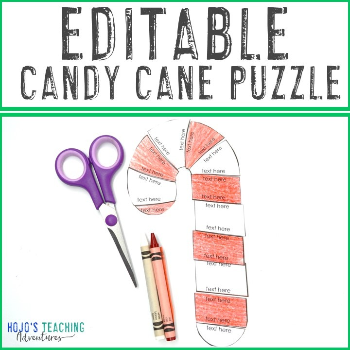 EDITABLE Candy Cane Puzzle for Elementary Kids