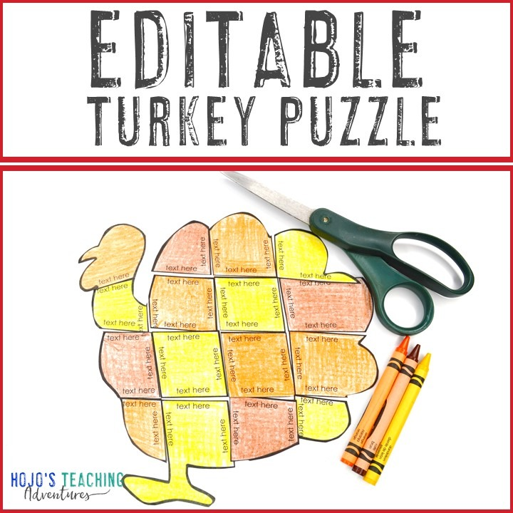 EDITABLE Turkey Puzzle for Elementary or Middle School Kids