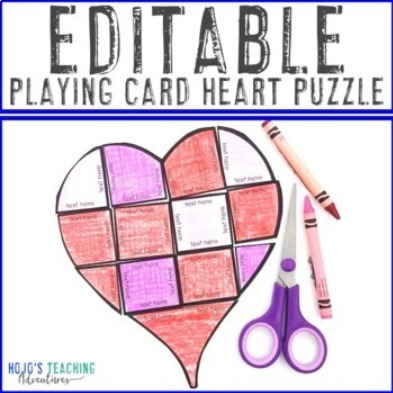 EDITABLE Playing Card Heart Puzzle