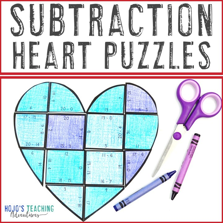 SUBTRACTION Heart Puzzles for 1st, 2nd, or 3rd Grade