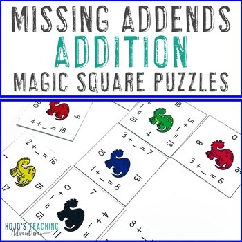 Missing Addends Addition Magic Square Puzzles for 1st or 2nd Grade