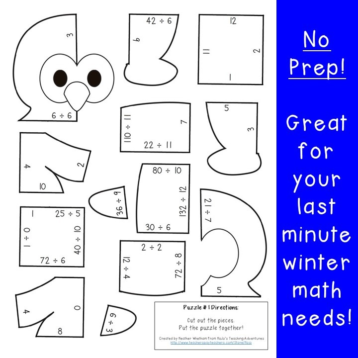 DIVISION Penguin Puzzles for 3rd, 4th, or 5th Grade