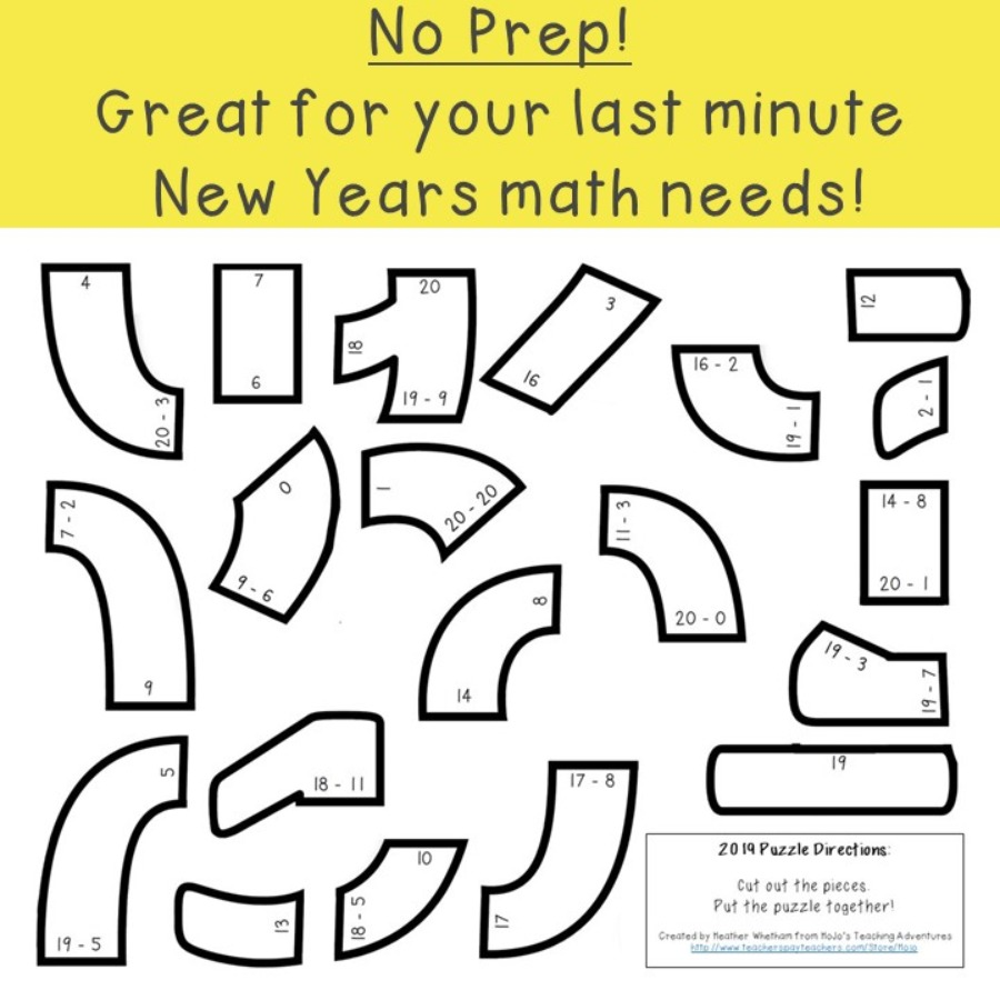 SUBTRACTION New Years Puzzles (2018-2027 Included!)