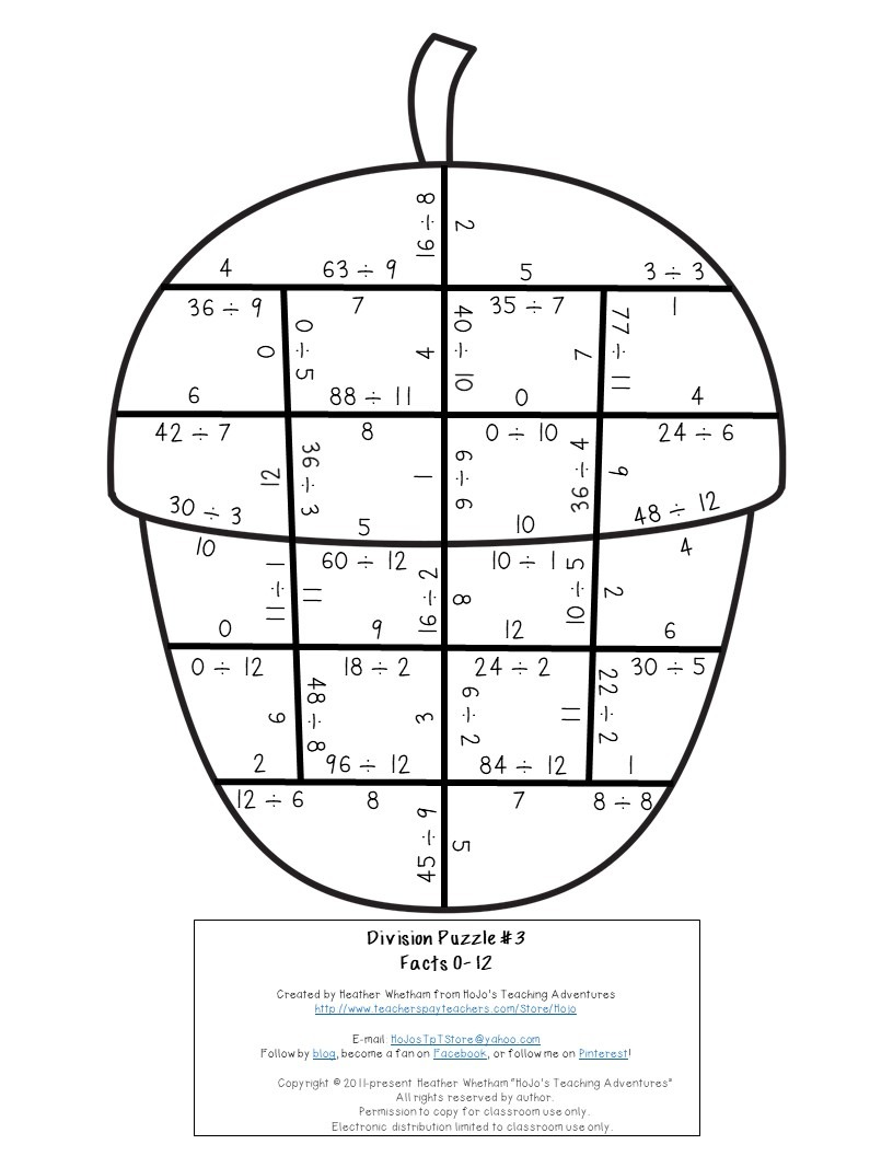 DIVISION Acorn Puzzles for 3rd, 4th, or 5th Grade