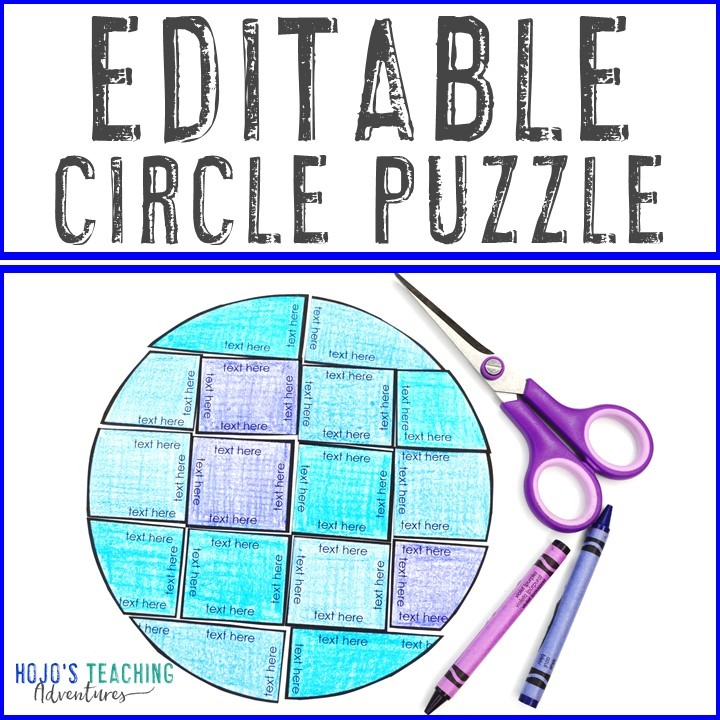 EDITABLE Circle Puzzle for Elementary or Middle School Kids