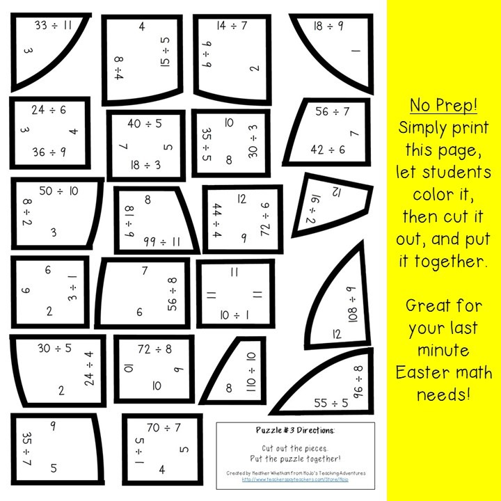 DIVISION Egg Puzzles for 3rd, 4th, or 5th Grade