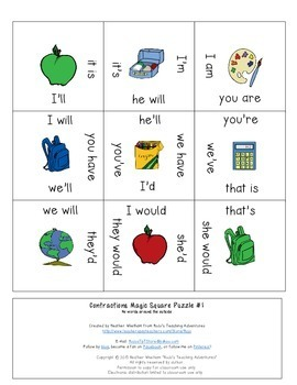 Contractions Magic Square Puzzles for 1st or 2nd Grade Kids