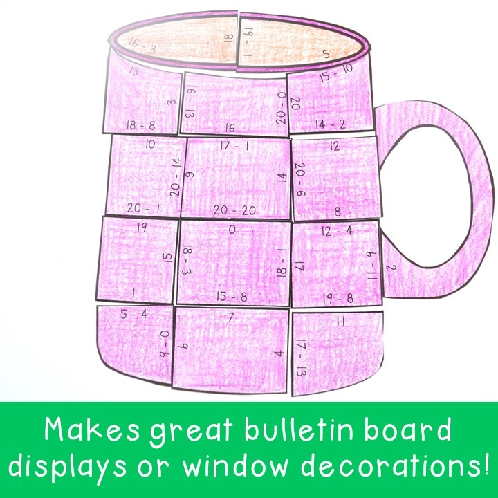 SUBTRACTION Mug Puzzles for 1st, 2nd, & 3rd Grade Kids
