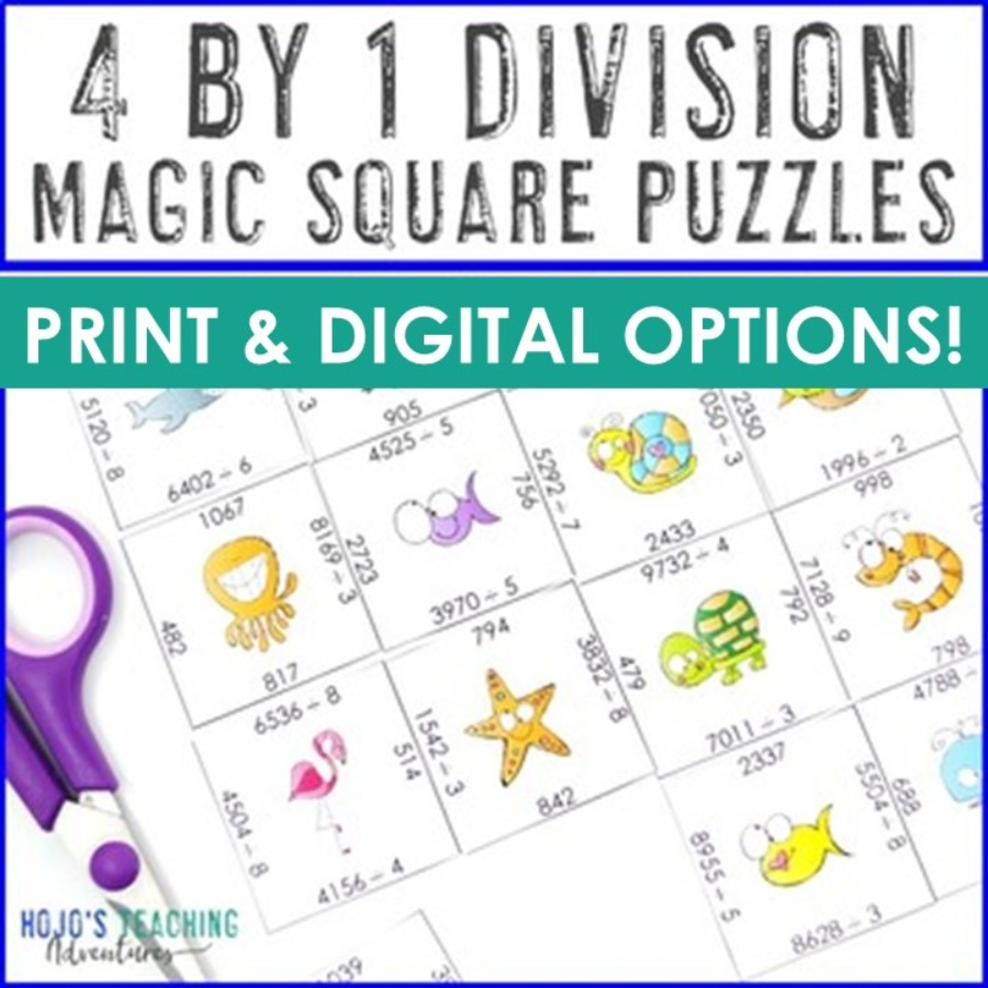 Four Digit Division Magic Square Puzzles
