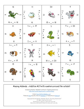 Missing Addends Addition Magic Square Puzzles