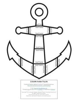 EDITABLE Anchor Puzzle for Elementary Kids