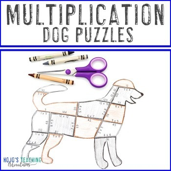 Multiplication Dog Puzzles for 3rd, 4th, or 5th Grade
