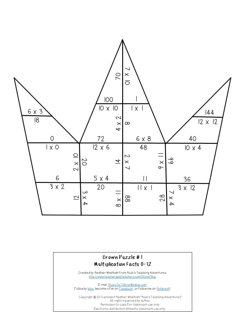 MULTIPLICATION Crown Puzzles for 3rd, 4th, or 5th Grade
