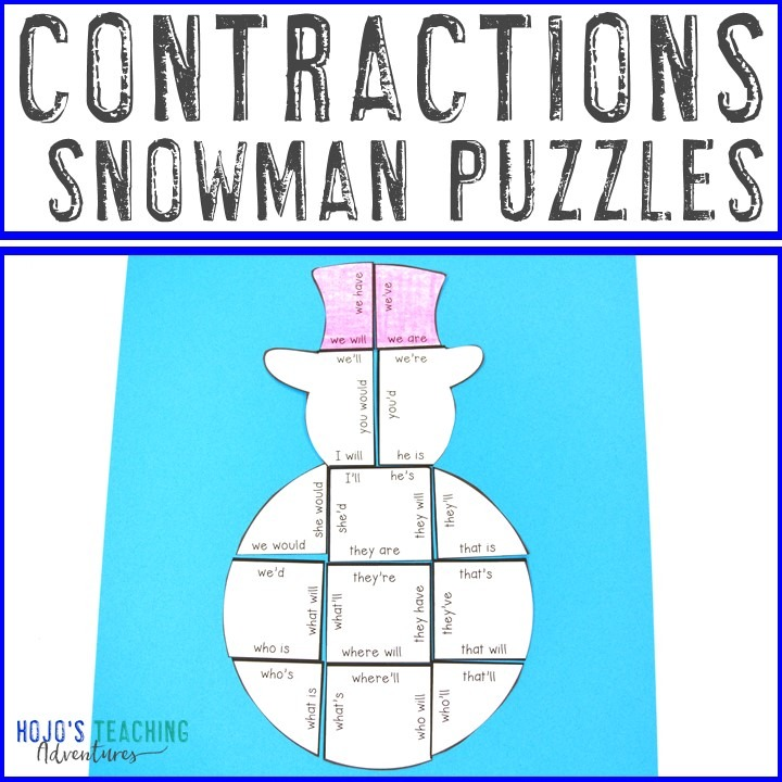 CONTRACTIONS Snowman Puzzles for 2nd, 3rd, and 4th Grade