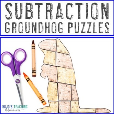SUBTRACTION Groundhog Puzzles for 1st, 2nd, or 3rd Grade Kids
