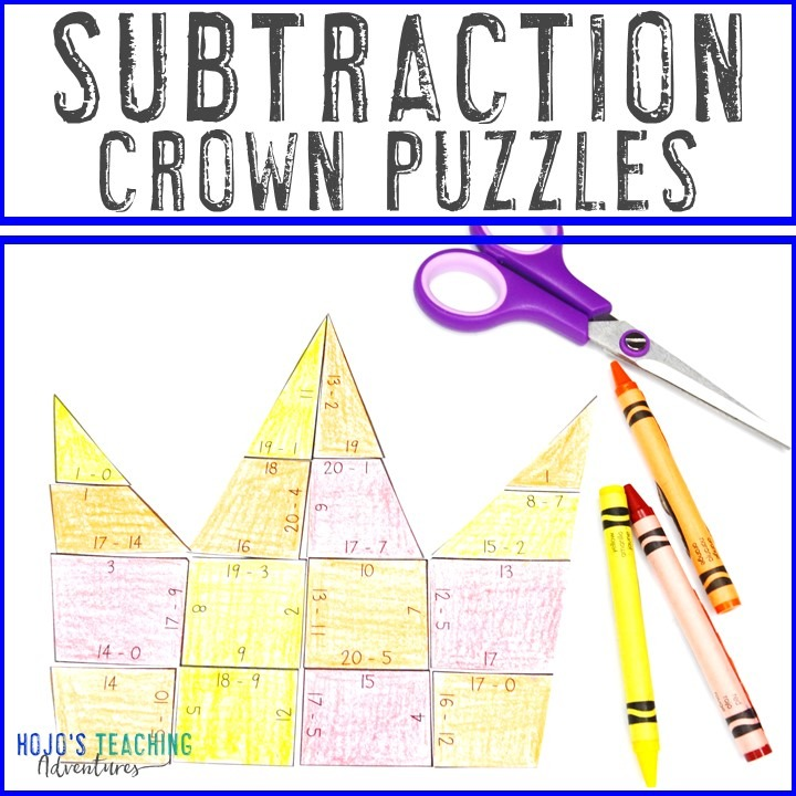 SUBTRACTION Crown Puzzles for 1st, 2nd, or 3rd Grade