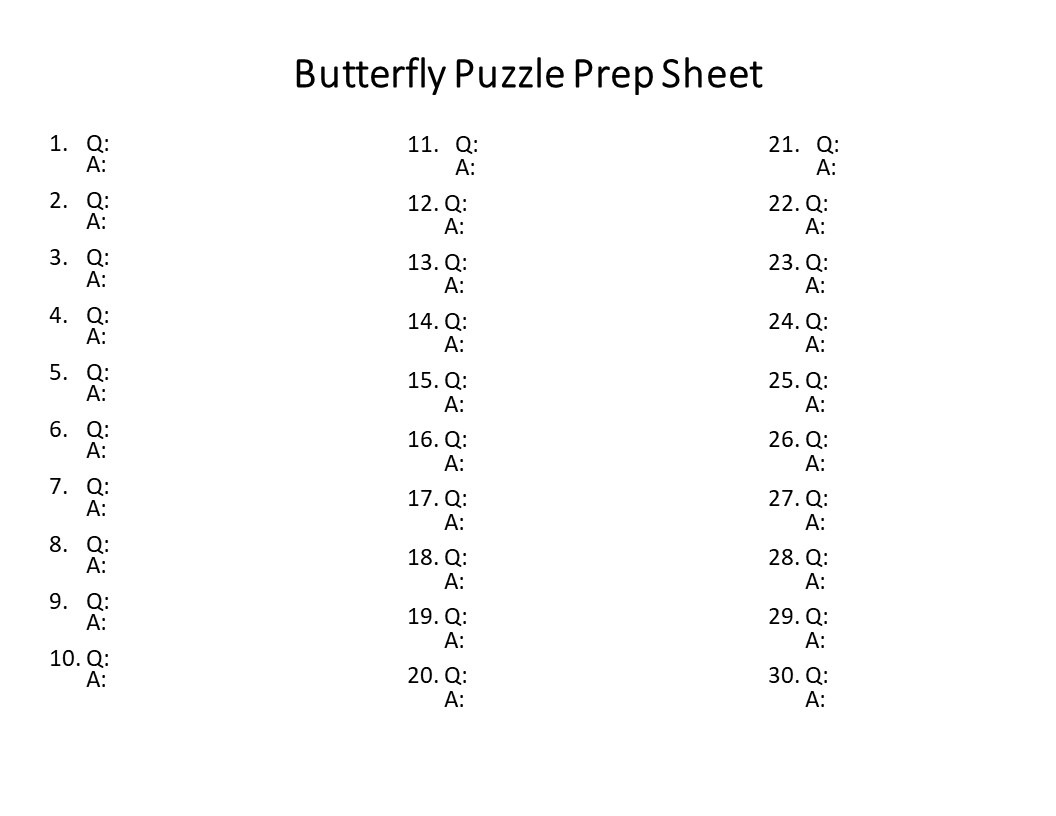 EDITABLE Butterfly Puzzle for Elementary or Middle School Kids