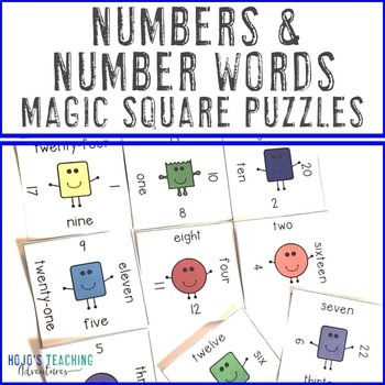 Numbers and Number Words Magic Square Puzzles
