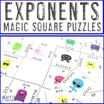Exponents Magic Square Puzzles