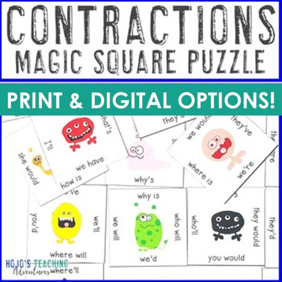 Contractions Magic Square Puzzle - Digital and PDF Options
