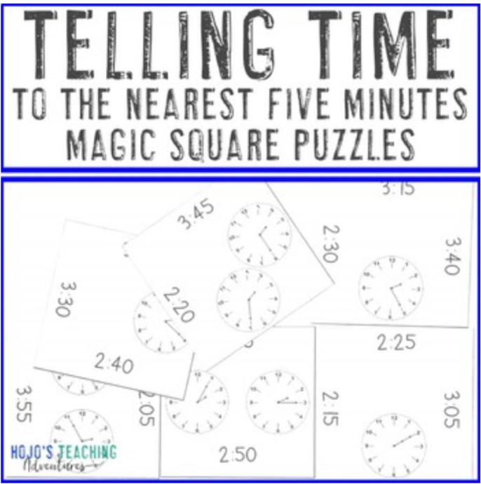Telling Time to 5 Minutes Magic Square Puzzles