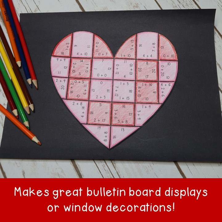 ADDITION Heart Puzzles for 1st, 2nd, or 3rd Grade