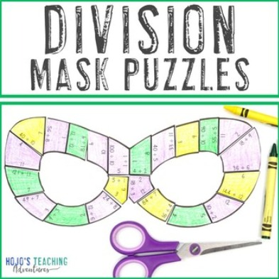 DIVISION Mask Puzzles for 3rd, 4th, or 5th Grade