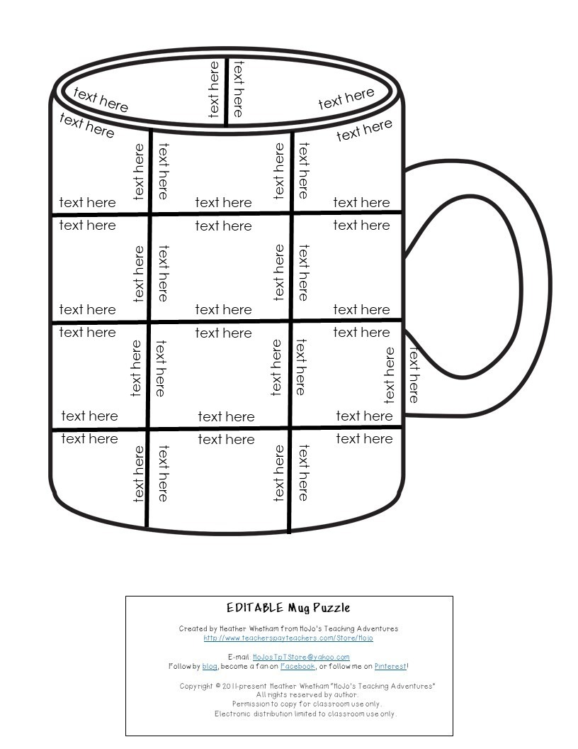 EDITABLE Mug Puzzle for Elementary or Middle School Kids