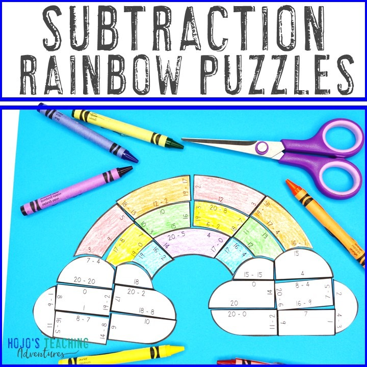 SUBTRACTION Rainbow Puzzles for 1st, 2nd, or 3rd Grade