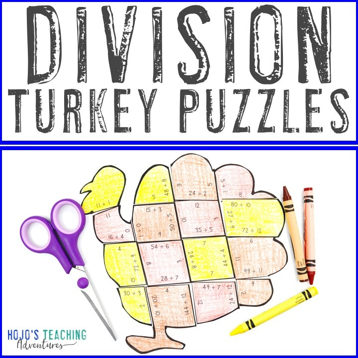 DIVISION Turkey Puzzles for 3rd, 4th, or 5th Grade Kids