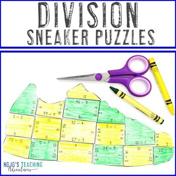 Division Sneaker Puzzles for 3rd, 4th, or 5th Grade
