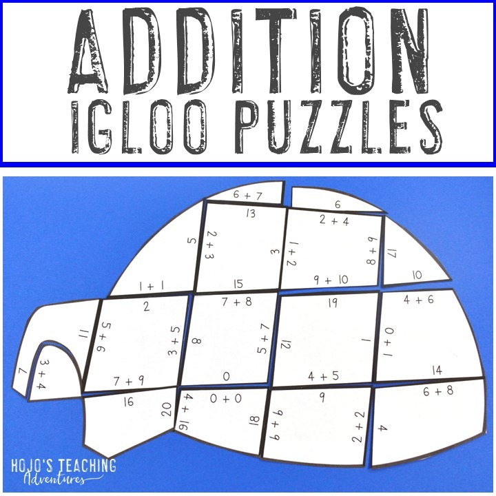 ADDITION Igloo Puzzles for 1st, 2nd, or 3rd Grade