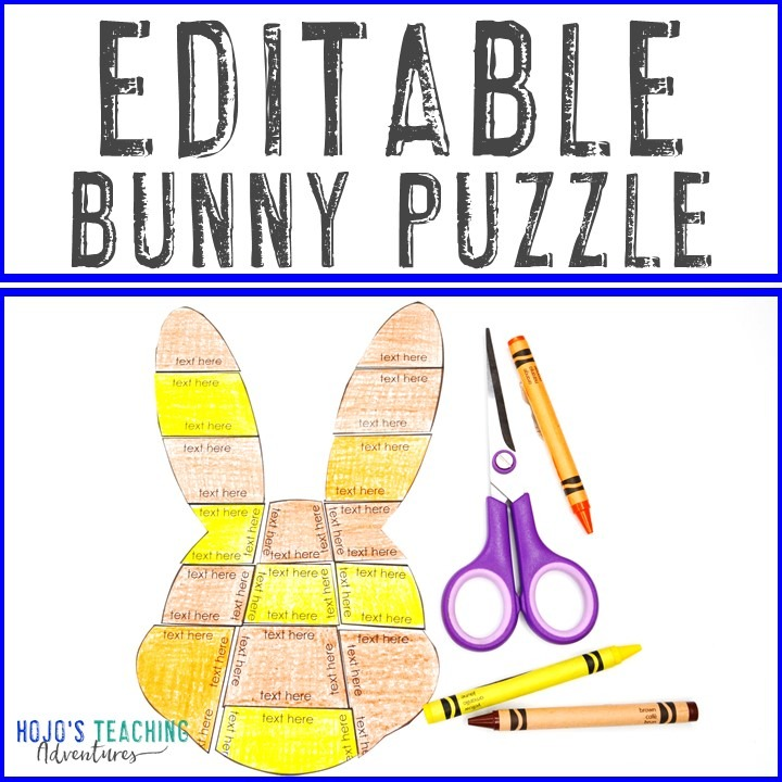 EDITABLE Bunny Puzzle for Elementary or Middle School