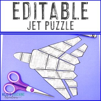 EDITABLE Jet Puzzle for Elementary or Middle School Kids