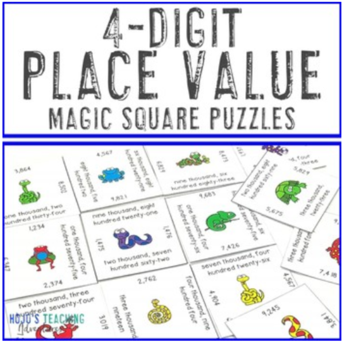 4 Digit Place Value Magic Square Puzzles