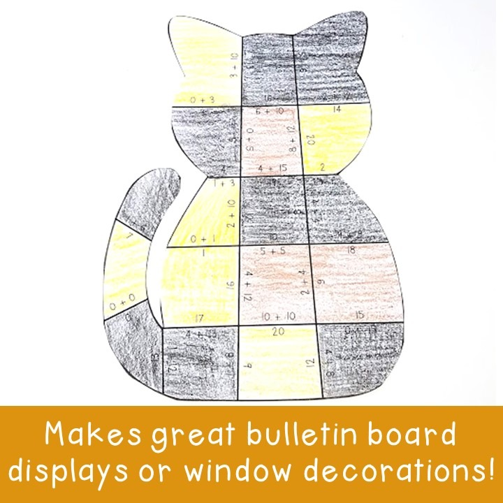 ADDITION Cat Puzzles for 1st, 2nd, or 3rd Grade