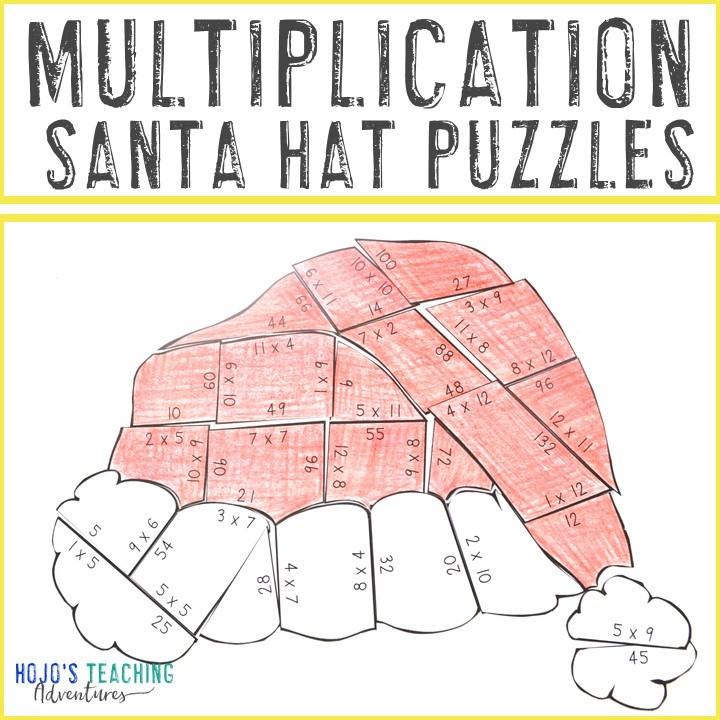 MULTIPLICATION Santa Hat Puzzles for 3rd, 4th, or 5th Grade