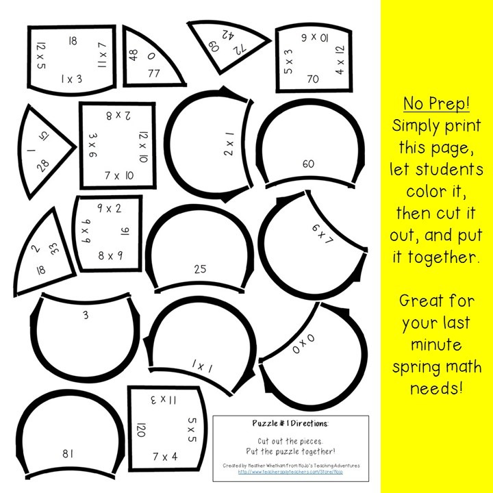 MULTIPLICATION Flower Puzzles for 3rd, 4th, or 5th Grade