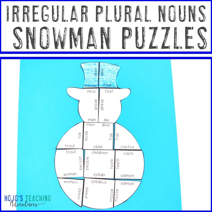 IRREGULAR PLURAL NOUNS Snowman Puzzles for 2nd, 3rd, 4th, or 5th Grade