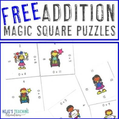 FREE Addition Magic Square Puzzles