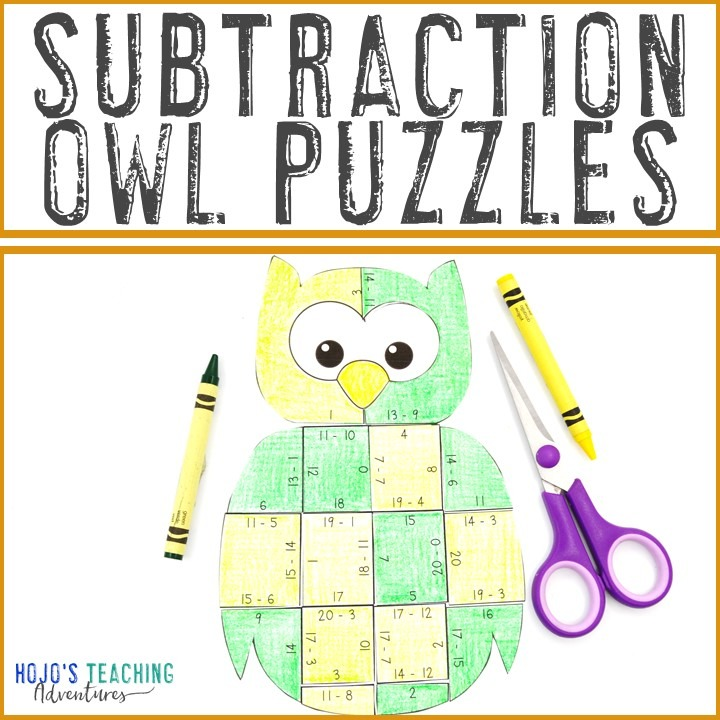 SUBTRACTION Owl Puzzles for 1st, 2nd, or 3rd Grade