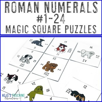 Roman Numerals 1-24 Magic Square Puzzles