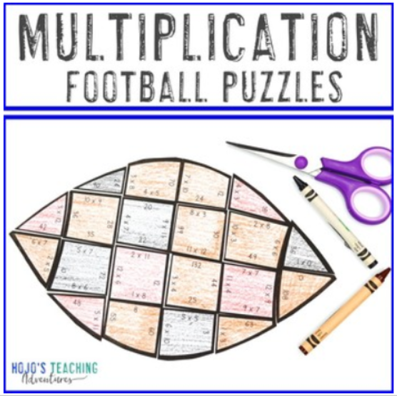 MULTIPLICATION Football Puzzles for 3rd, 4th, or 5th Grade