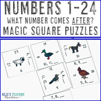 Numbers 1-24 Math Center Game: What Number Comes After?