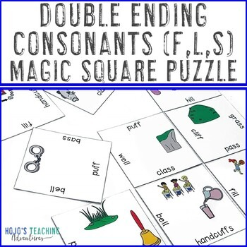 Double Ending Consonants (FF, LL, SS) Magic Square Puzzles