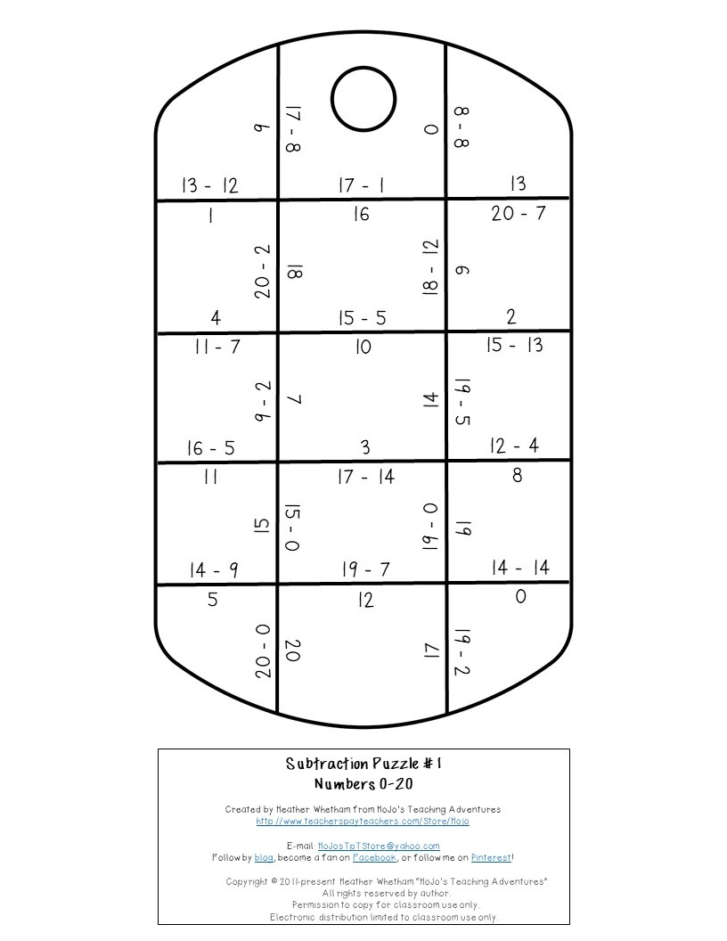 SUBTRACTION Dog Tag Puzzles for 1st, 2nd, or 3rd Grade