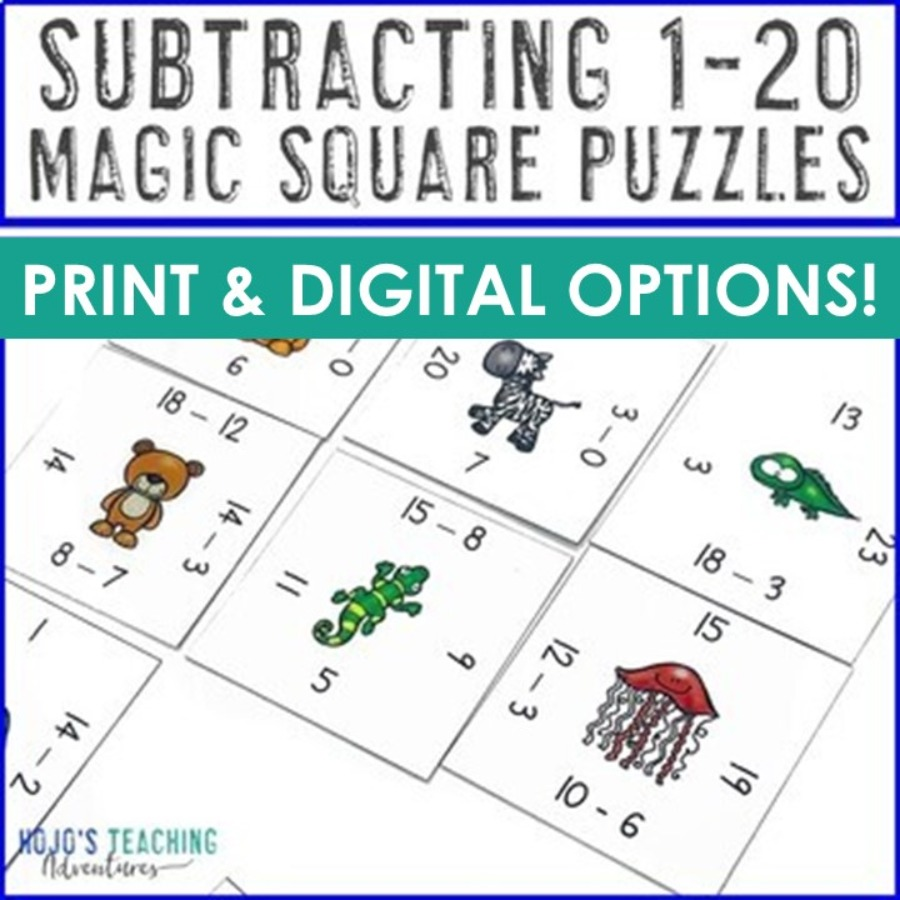 Subtraction 1-20 Magic Square Puzzles - Print AND Digital