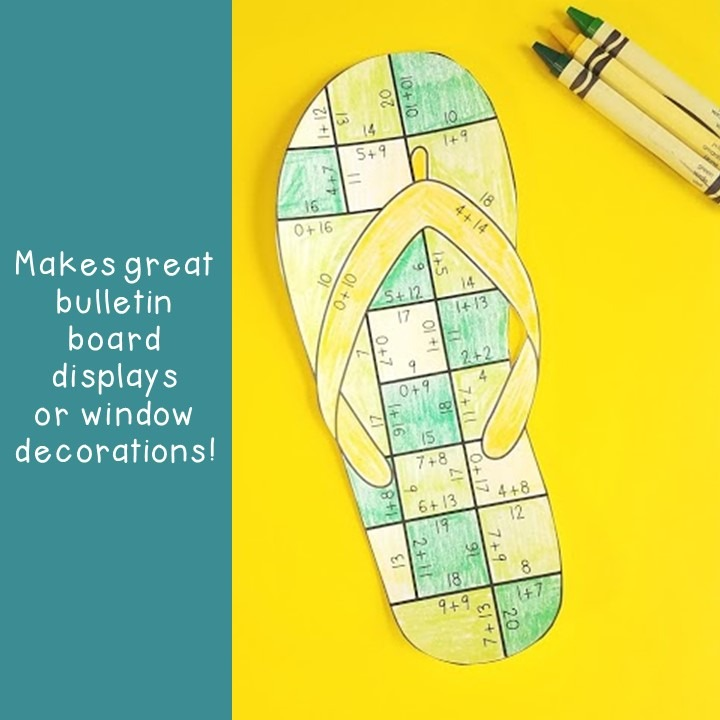 ADDITION Flip Flop Puzzles for 1st, 2nd, or 3rd Grade